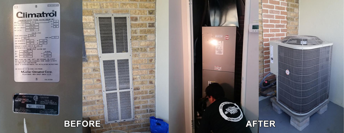 Replacing old Climatrol Air Conditioner with a Payne Heat Pump and Fan Coil at 2130 Weston Road, York, ON